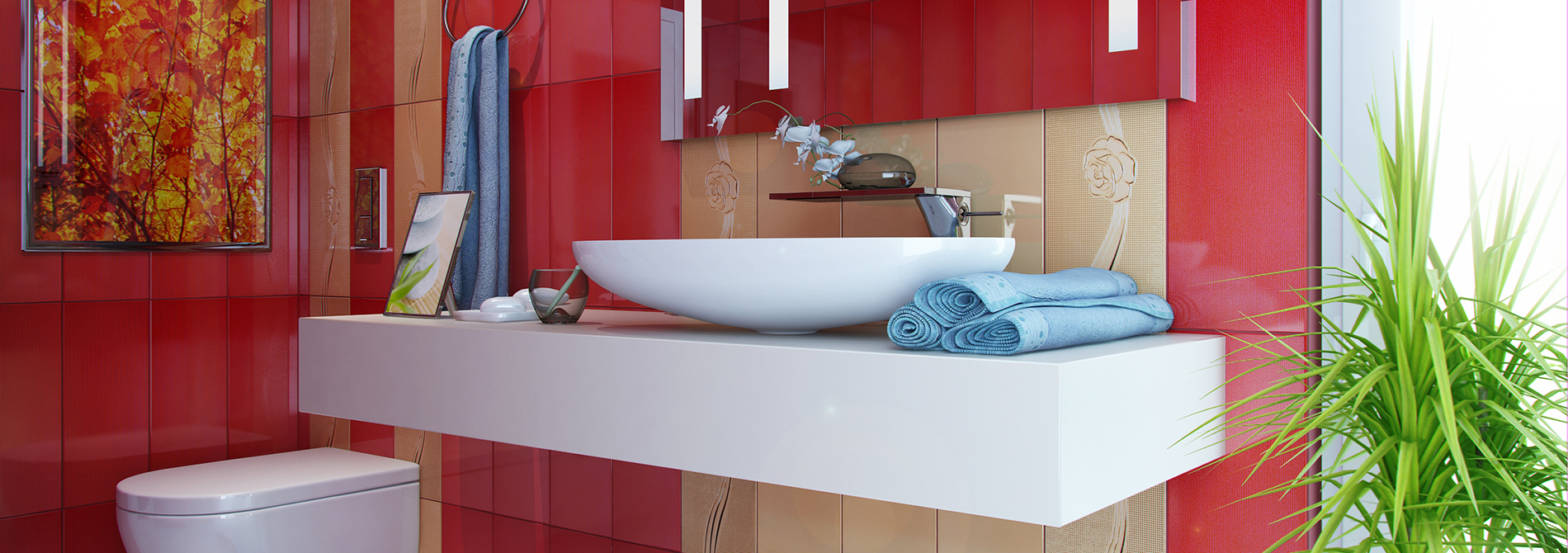 Element bathroom red AMBIENT